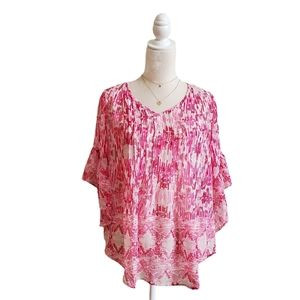 Style&Co Top Blouse Destination Summer Pink White